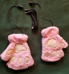 USB Heated Fingerless Pink Paw Heated Gloves Thermal Hand Warmer Electric $10.08