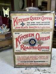 Vintage Coffee Tin Kitchen Queen Coffee Large Bin Early Mercantile Advertising $250.00