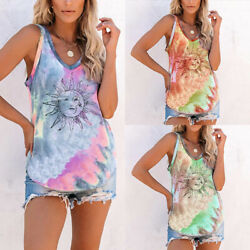 Womens Tie dye Sleeveless Tank Tops Summer T Shirts Boho Vest Tops Beach Blouse $13.99