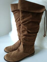 The Childrens Place Girls Knee High Boots Gray Faux Suede Size 3 Youth $33.95