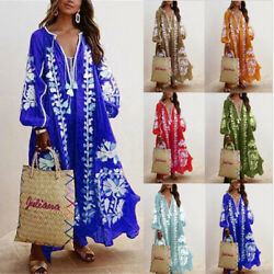 Plus Size Women V Neck Print BOHO Dress Summer Beach Holiday Sundress Maxi Dress $20.89