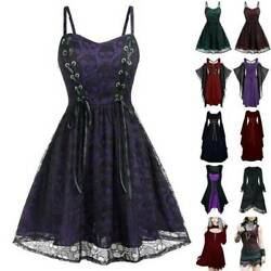Women Punk Halloween Party Retro Medieval Gothic Mini Dress Costume Fancy Dress`