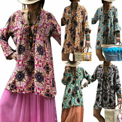 US Women V Neck Long Tops Floral Loose Tunic Boho Dress Blouse Holiday Plus Size $13.59