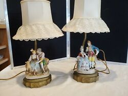 Victorian Lamps with Ceramic Man and Woman Set of 2 $30.00