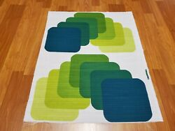 Awesome RARE Vintage Mid Century retro 70s grn square caterpillar fabric LOOK $30.00
