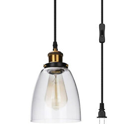 Pendant Light with Glass Shade Mini Chandelier Plug in Hanging Ceiling Light $27.54