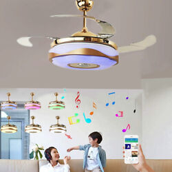 36 42quot; Bluetooth 7 Color LED Dimming Chandeliers Remote Ceiling Fan Music Player $158.64