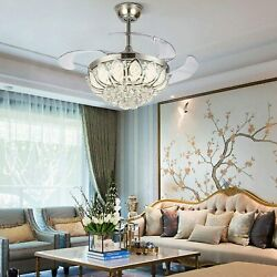 42quot; Remote Luxury Chandelier Crystals Modern Invisible Ceiling Fan Light Fixture $189.99