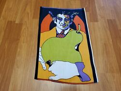 Awesome RARE Vintage Mid Century retro 60s 70s psychedelic apple man fabric WOW $20.00