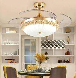 42quot; Remote LED 3 Colors Crystal Chandelier Modern Invisible Ceiling Fan Light $198.99