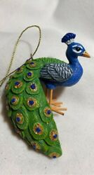 Blue and Turquoise Peacocks Christmas Ornament new with tags Beautiful