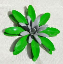 PRETTY VINTAGE FLOWER POWER PIN BROOCH GREEN AND GRAY 1960#x27;s 2 1 2 INCHES $12.95