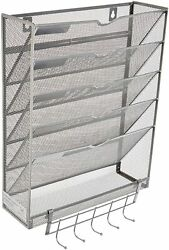 Hanging Wall Metal Mesh File Organizer with Key Rack 5 Tier Vertical Silver $24.95