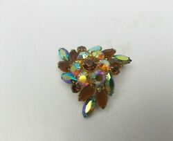Vintage ART DECO STYLE BROOCH Multi Colored Faceted Rhinestone $17.98