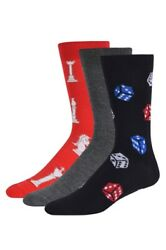 Men Socks 3 6 or 12 Pack Fashion Dress Chess amp; Dices Print Size 10 13 $14.90