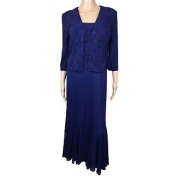 Alex Evenings 2 Piece Formal Navy Blue Jacket and Gown 10P $36.00