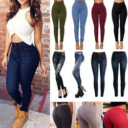 Womens High Waisted Skinny Pencil Jeans Denim Pants Jeggings Trousers Bottoms US $16.69