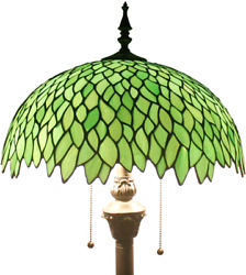 Tiffany Floor Standing Lamp Stained Glass Green Wisteria Style Antique Light 64quot; $242.48