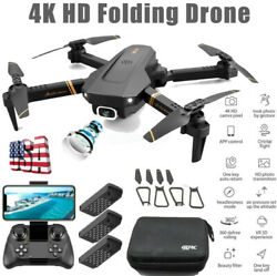 RC Quadcopter 4K Drone x Pro with HD Dual Camera Drones WiFi FPV Foldable 3*AA $42.32
