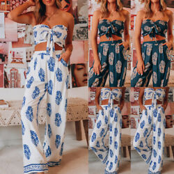 2 Piece Women Suits Crop Tube Top Wide Leg Pants Set Beach Outfits Holiday Party $16.90