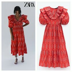 ZARA EMBROIDERED EYELET FLORAL RED DRESS RUFFLE MIDI 0881 118 $39.90
