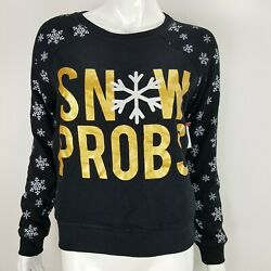 Snow Probs Snowflakes Winter Holiday Juniors Extra Soft Sweatshirt Sz MED or XL $10.99
