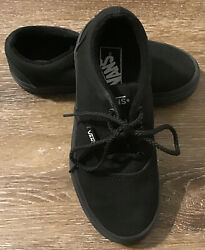 Vans Off The Wall Boys Black Skate Shoes Canvas Lace Up Youth Size 13.0 $14.99