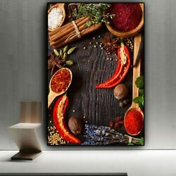 Grains Spices Spoon Peppers Kitchen Canvas Painting Cuadros Scandinavian Printed $19.90