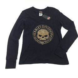 NEW Harley Womens Lucky Behind Willie G Skull Foil Long Sleeve Tshirt S L XL $25.45
