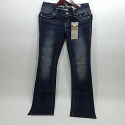 NEW Harley Womens Boot Cut Emb Low Rise Jeans size 2 and 16 $54.00