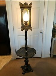 Antique Lantern Floor Lamp With Tray Table $180.00