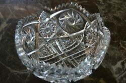 8 3 8quot; Heavy 4 pounds Crystal Serving Bowl pinwheel star design Sawtooth $19.50