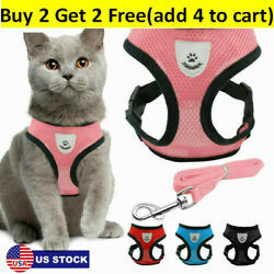 Cats Walking Jacket Harness And Leads Escape Proof Pet Dogs Adjustable Mesh Vest $7.75