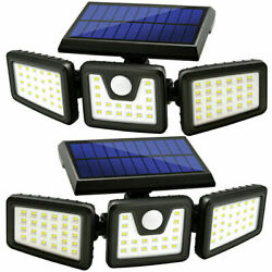 2 X Wireless Led Solar Motion Sensor Lights Outdoor With 3 Heads 270° Wide Angel $35.88