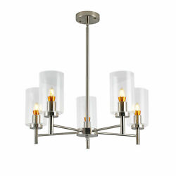 Contemporary 5 Light Large Chandeliers Modern Clear Glass Shades Pendant 120V US $94.06