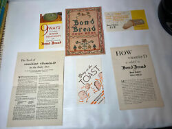 Bond Bread Cookbook Vintage with Fortified Bread Promo Materials $6.00