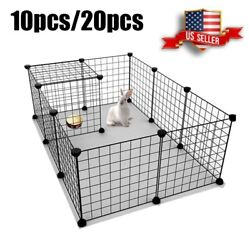 10 20 Panels Dog Fence Pet Play Pen Exercise Cage Folding Metal Dog Crates Cage $43.99