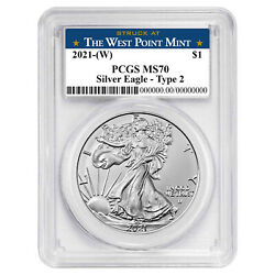 2021 W $1 Type 2 American Silver Eagle PCGS MS70 West Point Label $59.81