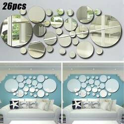26pcs 3D Acrylic Wall Mirror Stickers Stick On Decal Mural Home Room Art Decor $9.87
