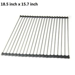 XXL Kitchen Stainless Steel Sink Drain Rack Roll Up Dish Rack Food Drying Mat $8.04