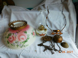 Antique Victorian Hanging Oil Lamp with Hand painted Painted Signed Shade $129.50