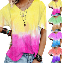 Womens Tie Dye Short Sleeve V Neck T Shirt Tops Summer Casual Loose Baggy Blouse $17.59