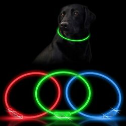 3X LED Dog Collars Rechargeable Light Up Dog Collars for Night Walking 3 colors $14.71