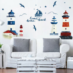 Sea sailboat Lighthouse Wall Stickers decoration sofa Mural Art Decals s ZC C $8.50