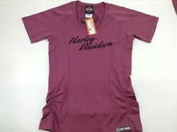 NEW Harley Womens Parked Out Synthetic Violet Quartz Short Sleeve Shirt Large $17.64