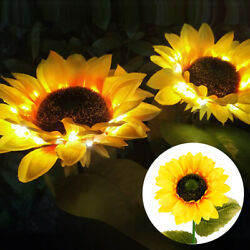 2 Pack 10 LED Sunflower Solar Powered Lawn Stake Lamps Waterproof Outdoor Lights $16.98