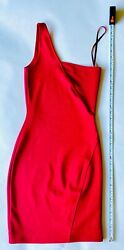 4 French Connection One Shoulder Red Cocktail Party Mini Dress Whisper Body Con $34.99
