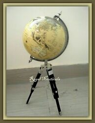 Nautical World Map Globe Vintage Table Top Décor Globe Antique Wooden Stand $67.99
