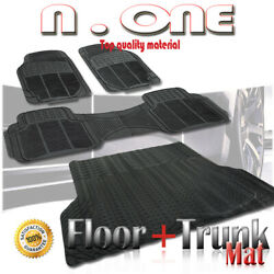 BLACK DURABLE RUBBER FLOOR AND TRUNK MAT 4PC COMBO CHEVY ASTRO 99 03 04 05 $44.28