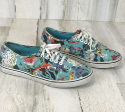 Vans Off The Wall Women#x27;s Turquoise Floral Print Canvas Sneakers Shoes Size 6.5 $22.99